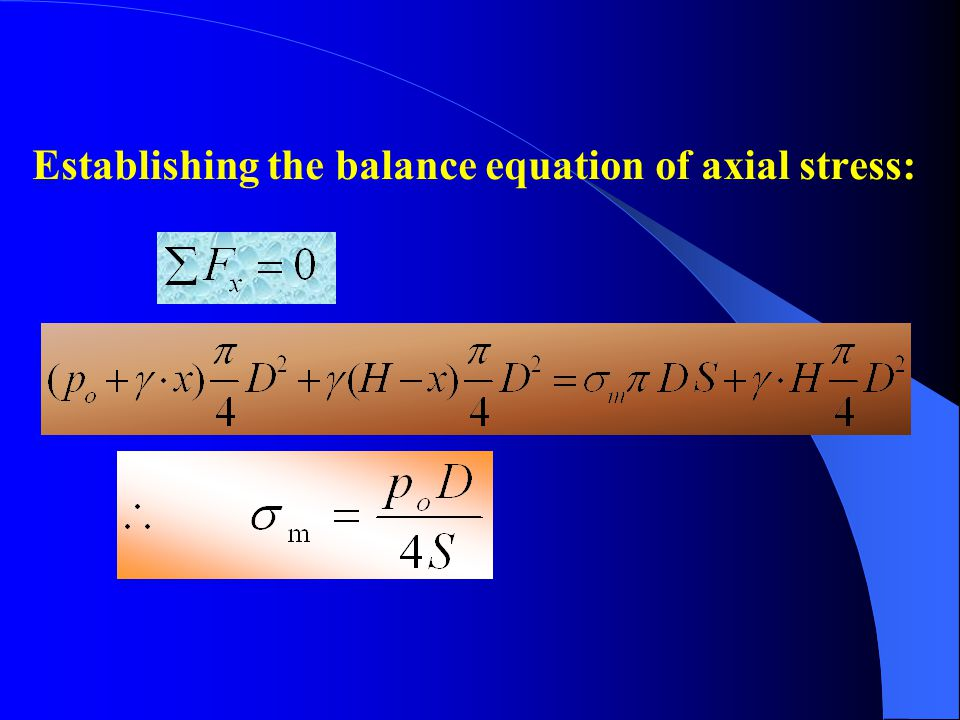 Establishing the balance equation of axial stress: