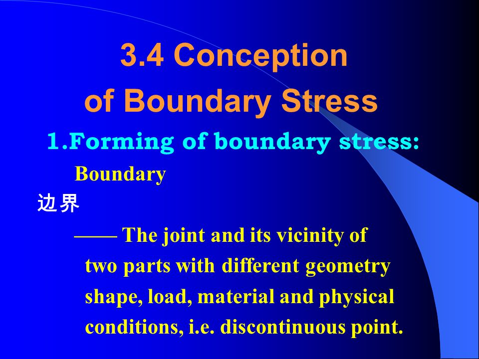 3.4 Conception of Boundary Stress 1.Forming of boundary stress: