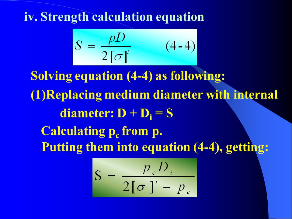 iv. Strength calculation equation
