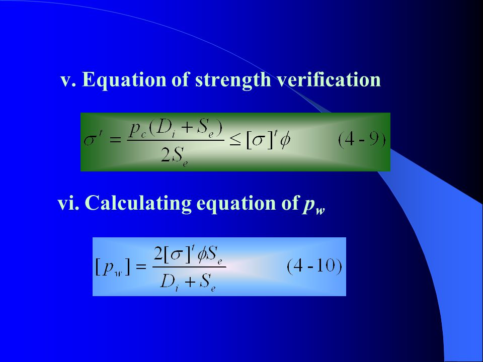 v. Equation of strength verification