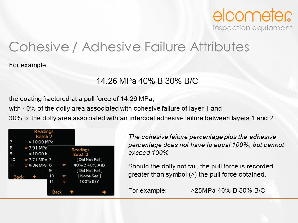 Cohesive / Adhesive Failure Attributes