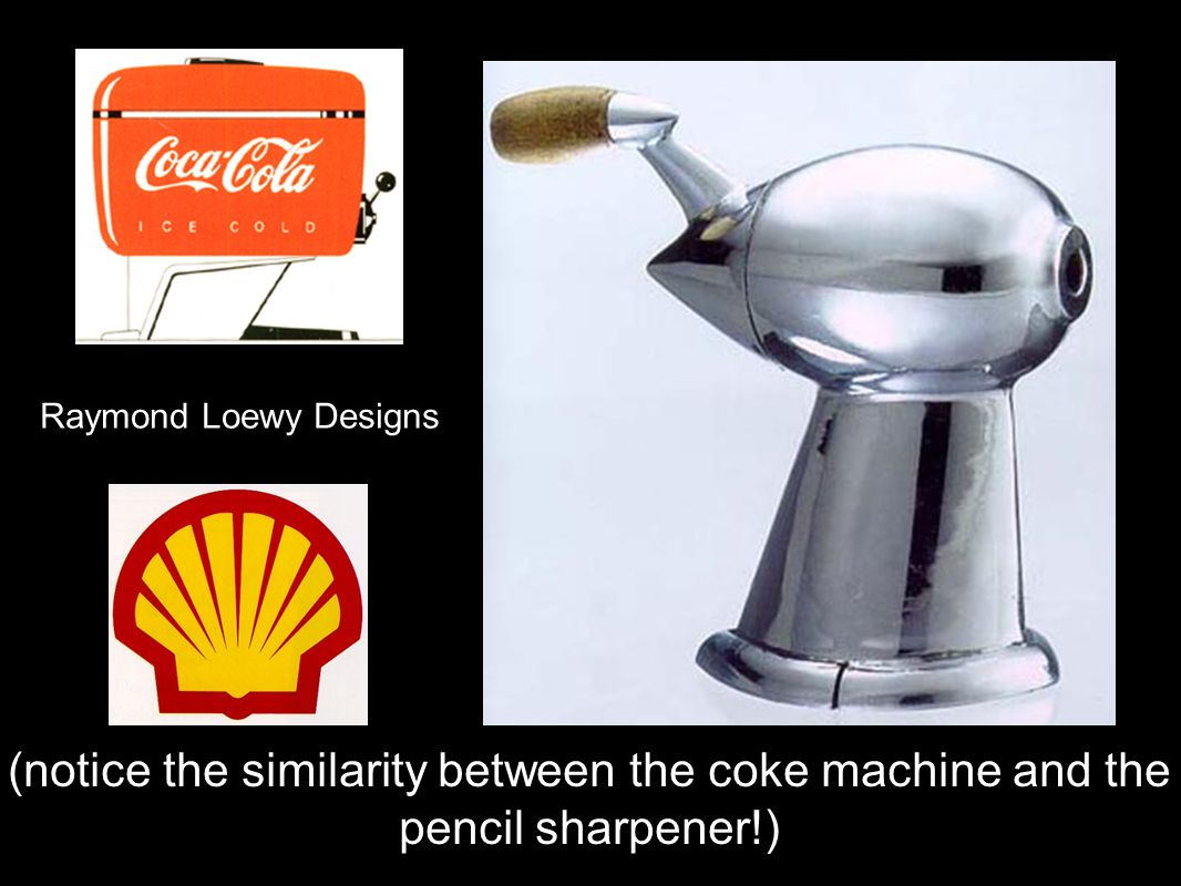 Raymond Loewy Designs (notice the similarity between the coke machine and the pencil sharpener!)