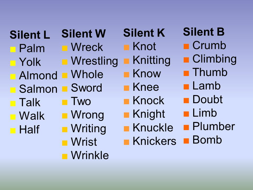 Silent W Wreck. Wrestling. Whole. Sword. Two. Wrong. Writing. Wrist. Wrinkle. Silent B. Crumb.