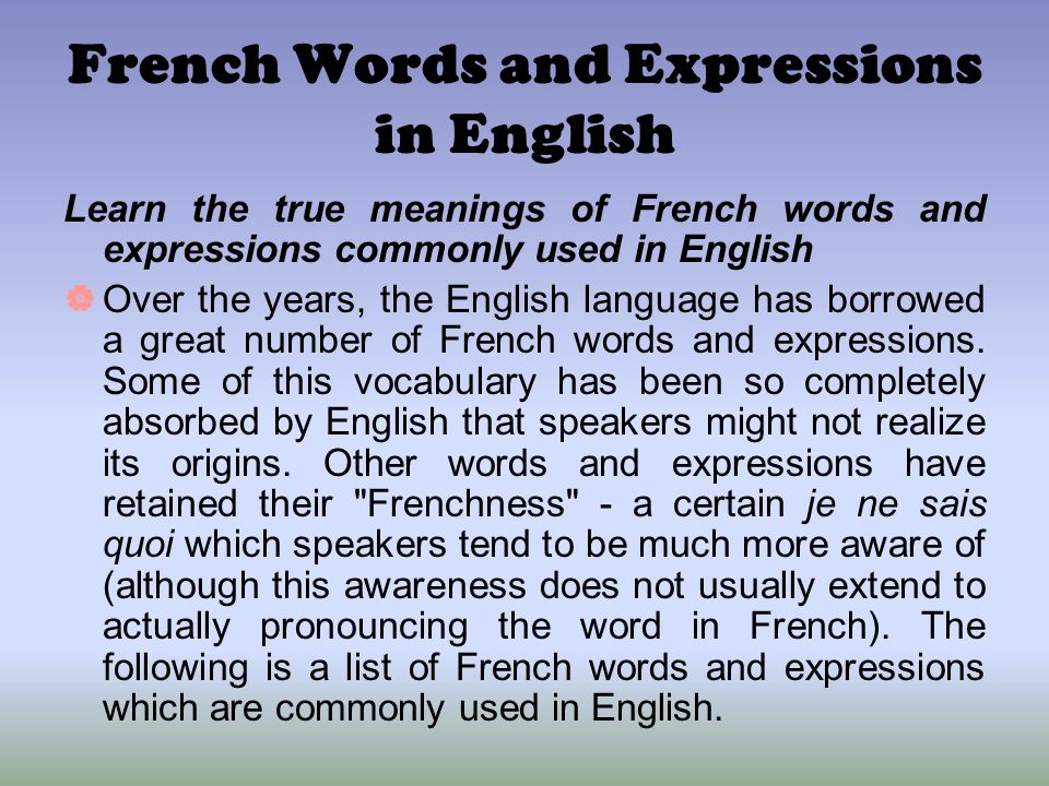 French Words and Expressions in English