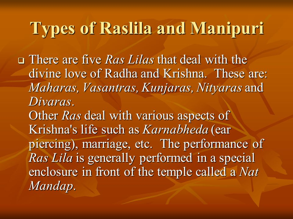 Types of Raslila and Manipuri