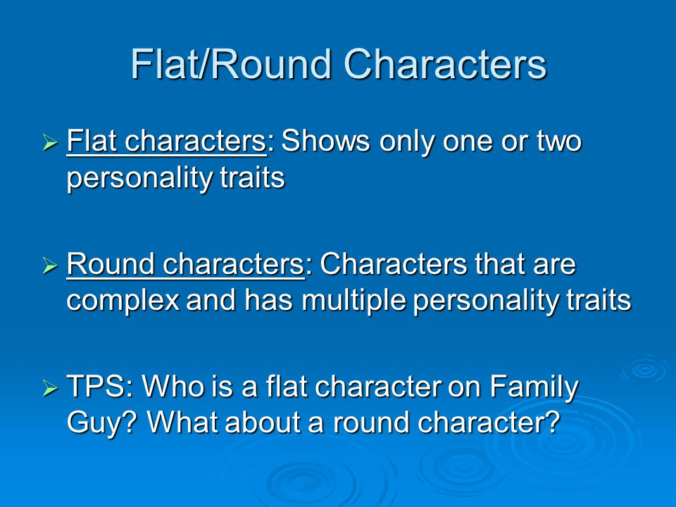 Flat/Round Characters