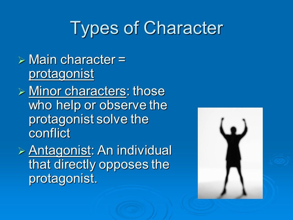 Types of Character Main character = protagonist