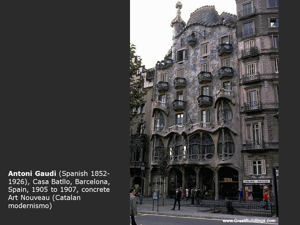 Antoni Gaudi (Spanish 1852-1926), Casa Batllo, Barcelona, Spain, 1905 to 1907, concrete Art Nouveau (Catalan modernismo)