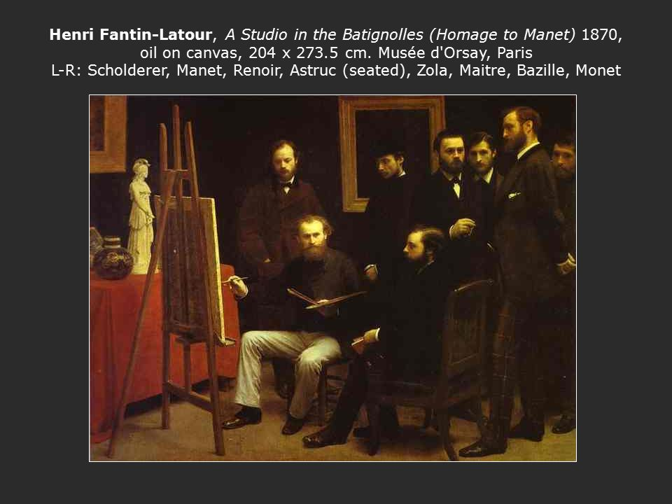 Henri Fantin-Latour, A Studio in the Batignolles (Homage to Manet) 1870, oil on canvas, 204 x 273.5 cm.