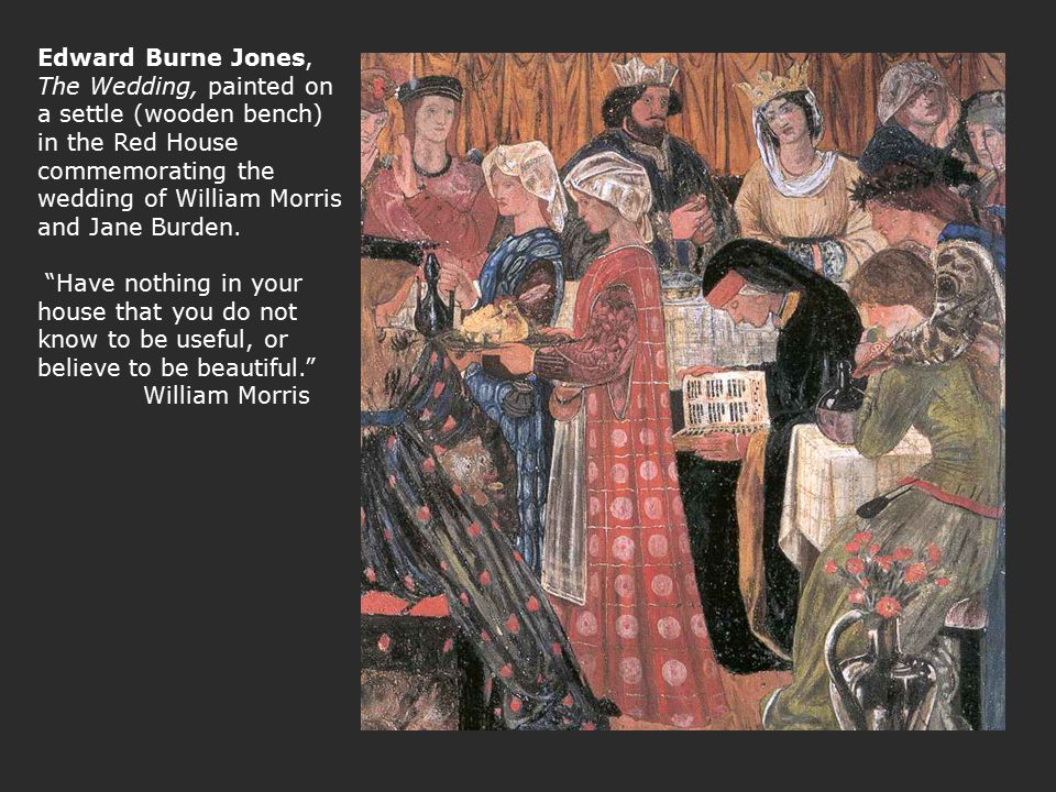 Edward Burne Jones, The Wedding, painted on a settle (wooden bench) in the Red House commemorating the wedding of William Morris and Jane Burden.