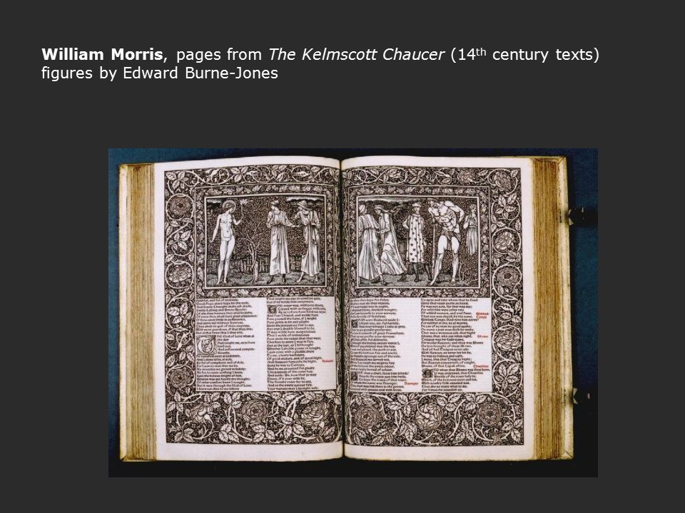 William Morris, pages from The Kelmscott Chaucer (14th century texts) figures by Edward Burne-Jones