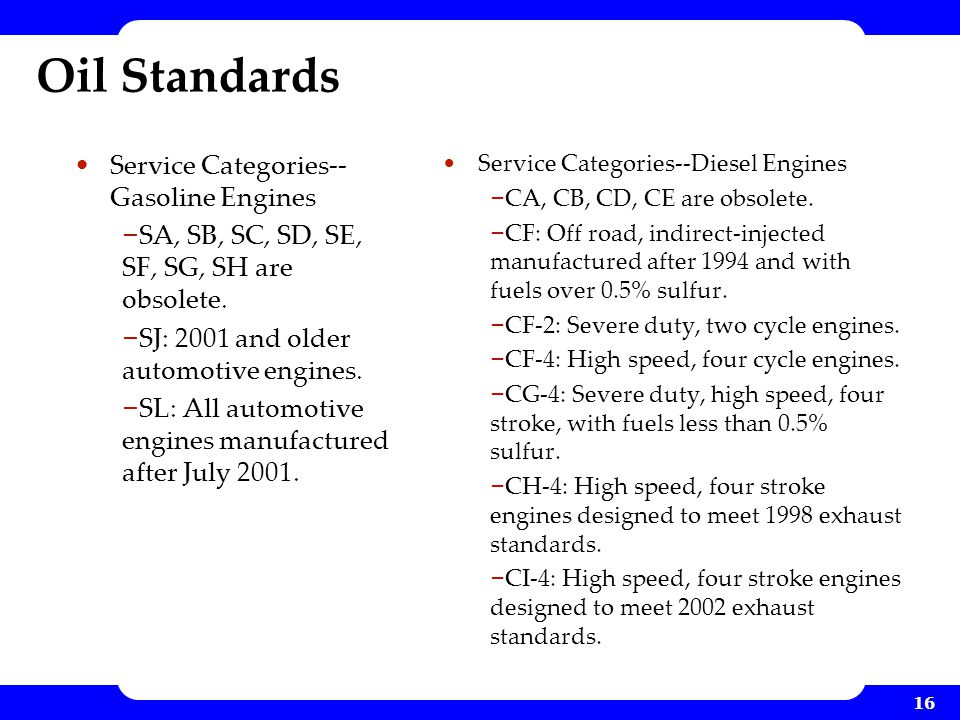 Oil Standards Service Categories--Gasoline Engines