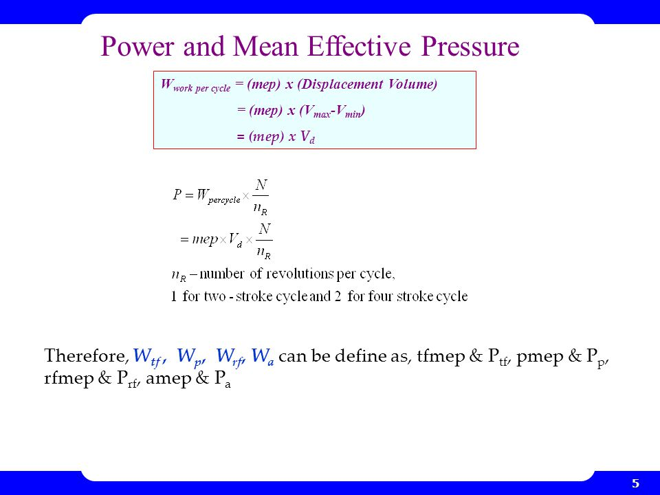 Power and Mean Effective Pressure