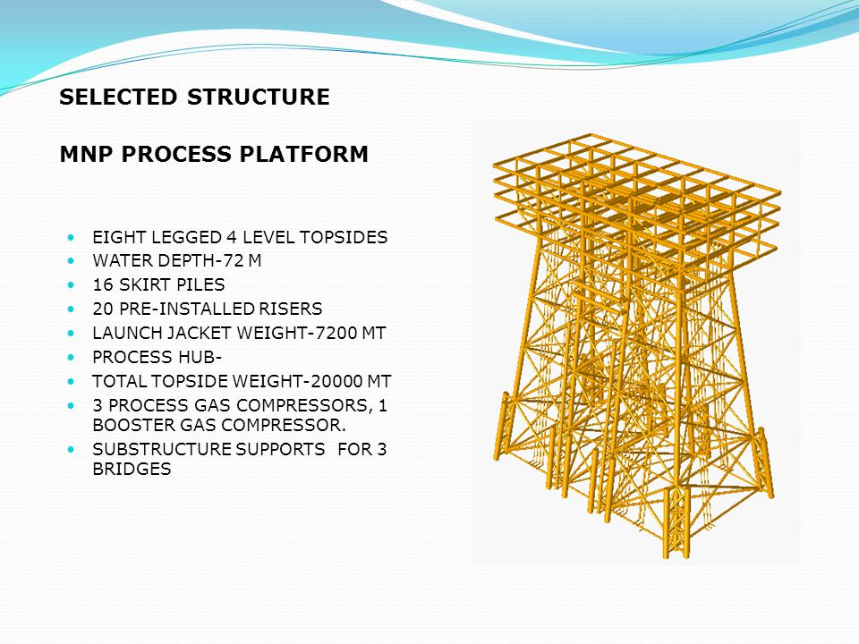SELECTED STRUCTURE MNP PROCESS PLATFORM EIGHT LEGGED 4 LEVEL TOPSIDES