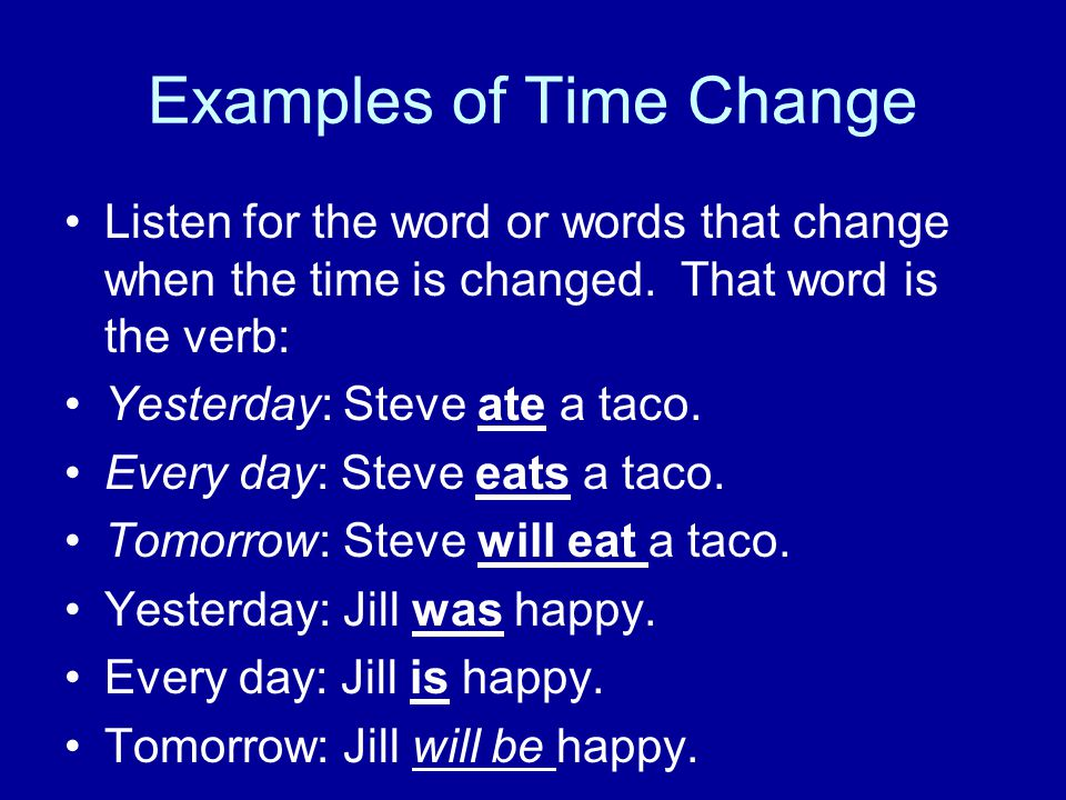 Examples of Time Change