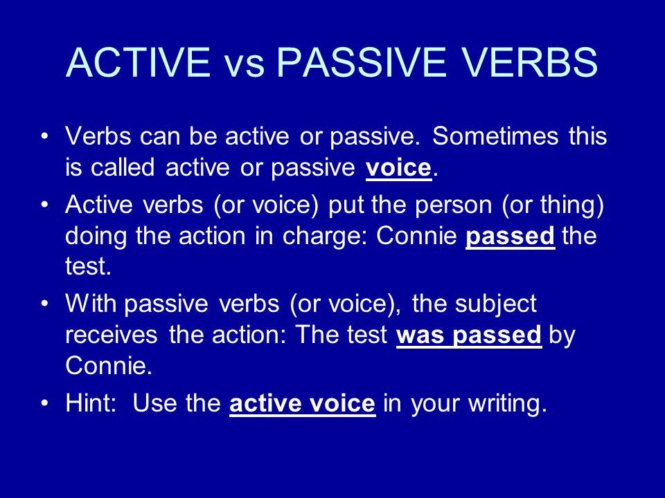 ACTIVE vs PASSIVE VERBS