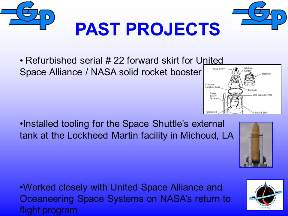 PAST PROJECTS Refurbished serial # 22 forward skirt for United Space Alliance / NASA solid rocket booster.