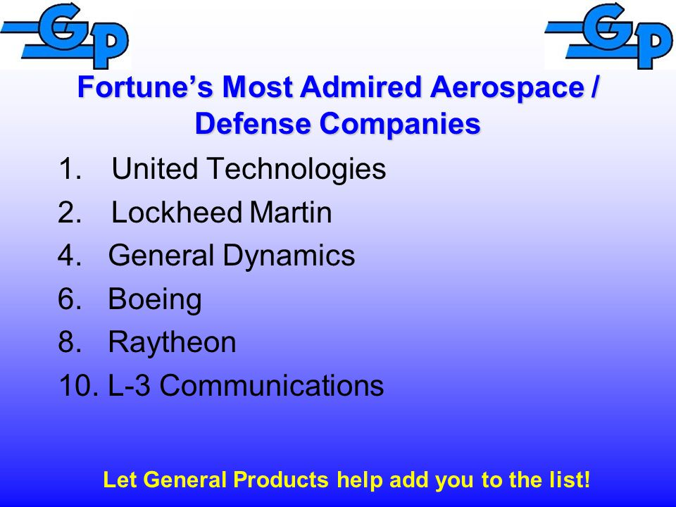 Fortune's Most Admired Aerospace / Defense Companies