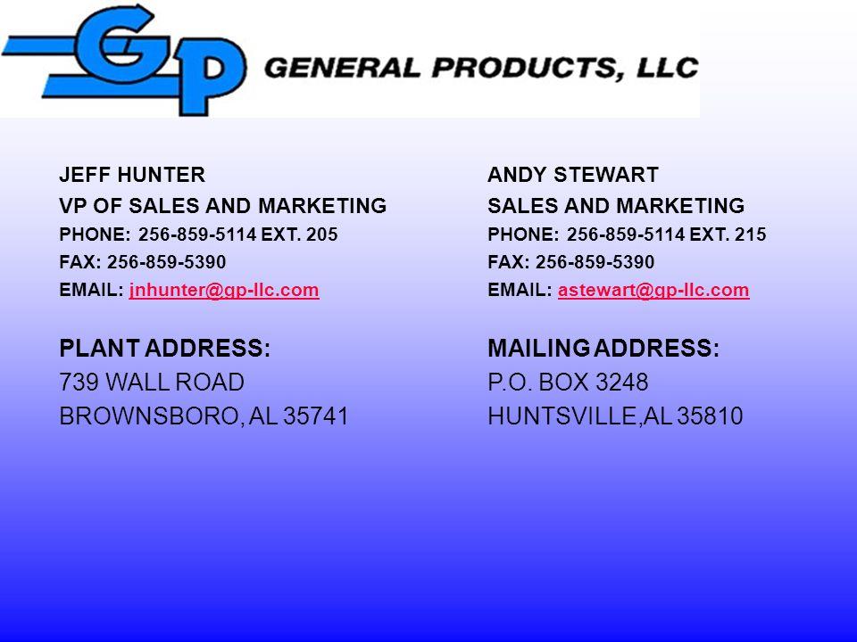 PLANT ADDRESS: MAILING ADDRESS: 739 WALL ROAD P.O. BOX 3248