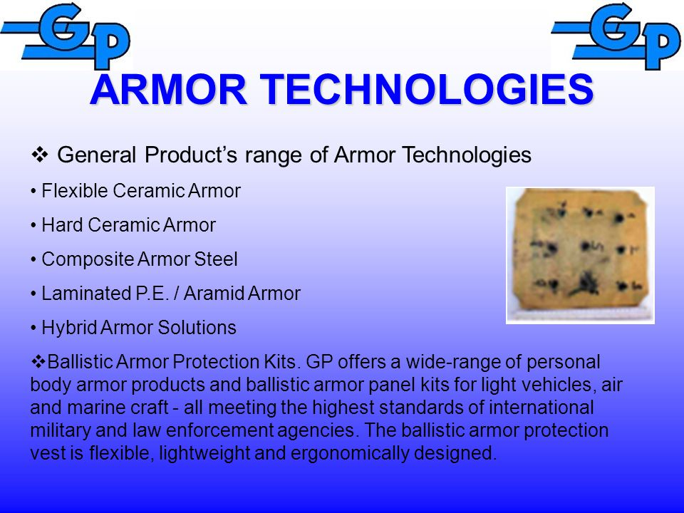 ARMOR TECHNOLOGIES General Product's range of Armor Technologies