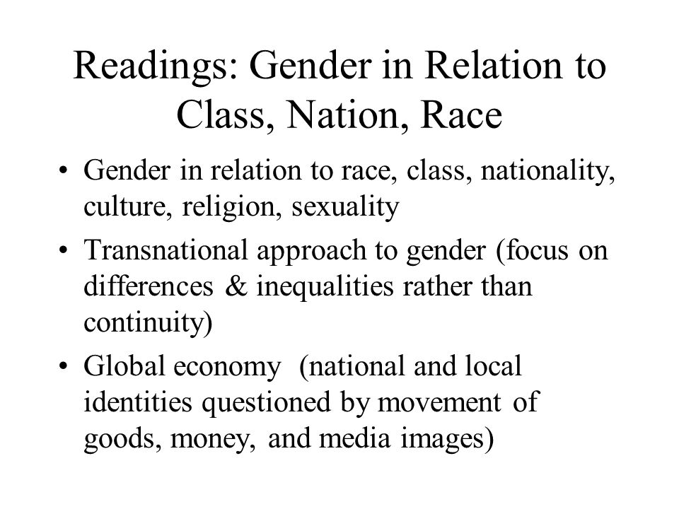 Readings: Gender in Relation to Class, Nation, Race