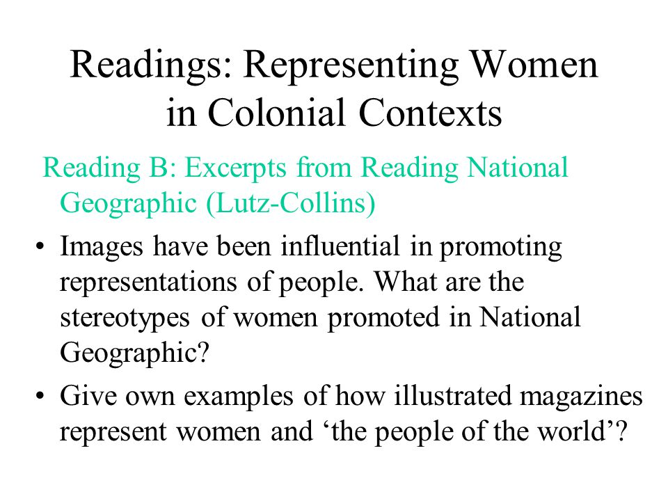 Readings: Representing Women in Colonial Contexts