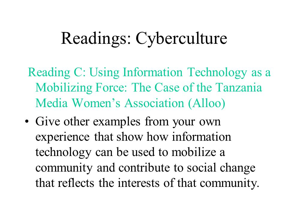 Readings: Cyberculture