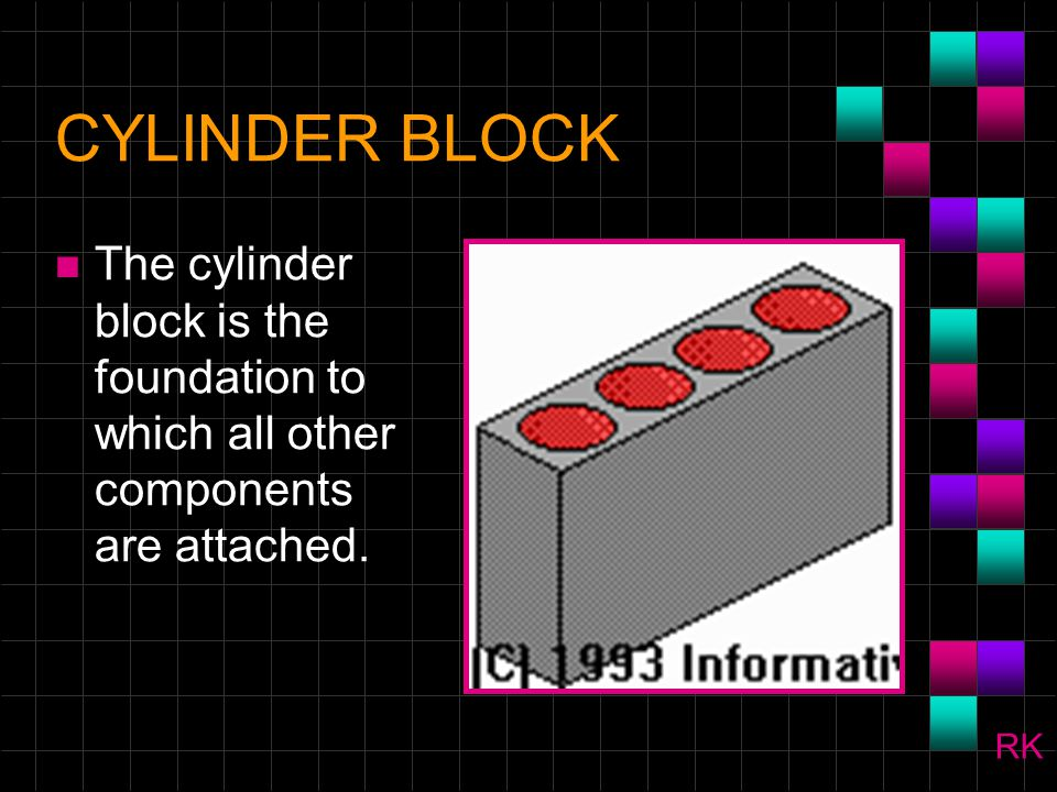 CYLINDER BLOCK The cylinder block is the foundation to which all other components are attached. RK