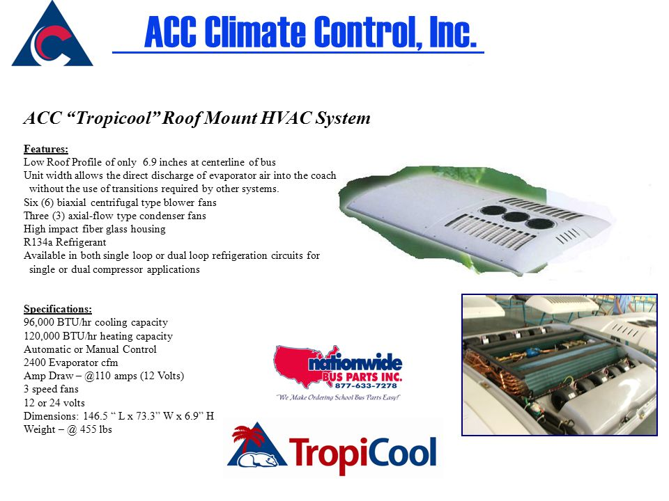 ACC Tropicool Roof Mount HVAC System