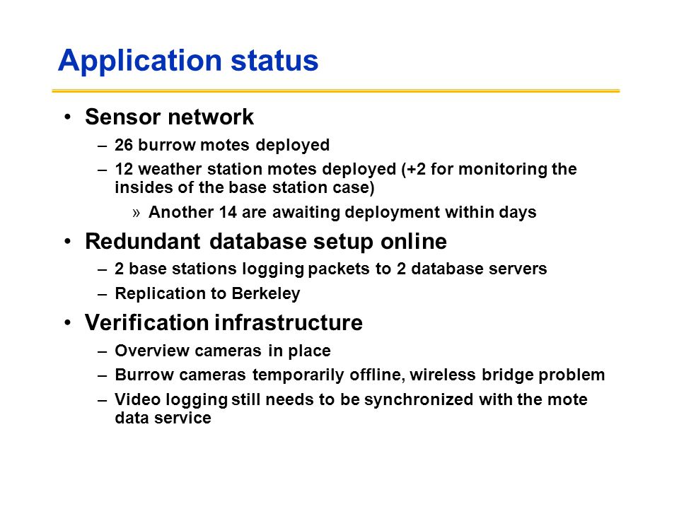 Application status Sensor network Redundant database setup online