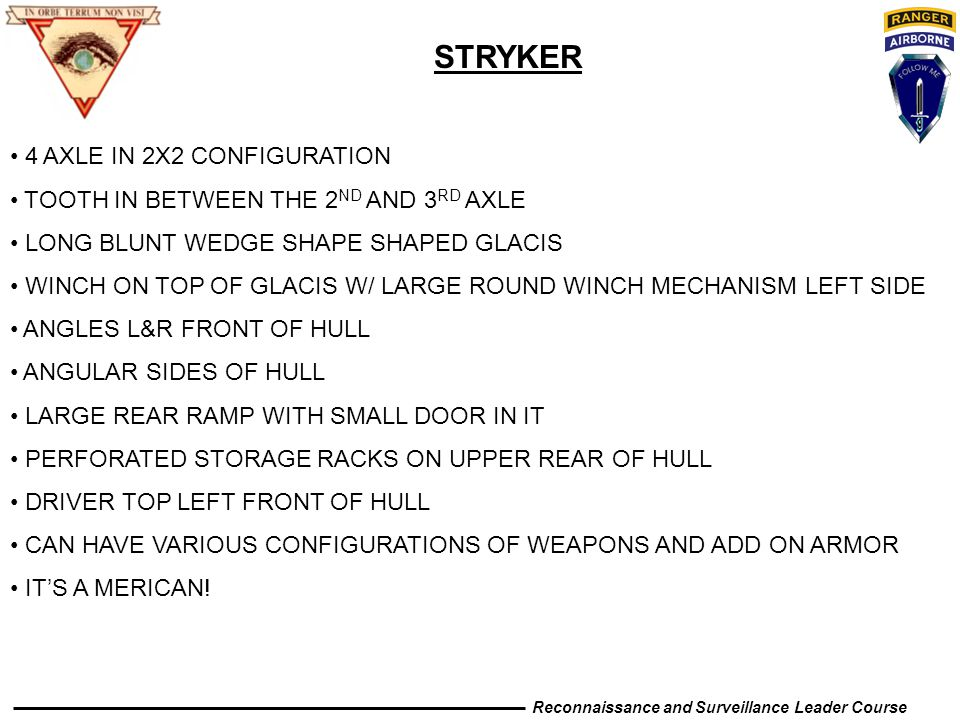 STRYKER 4 AXLE IN 2X2 CONFIGURATION