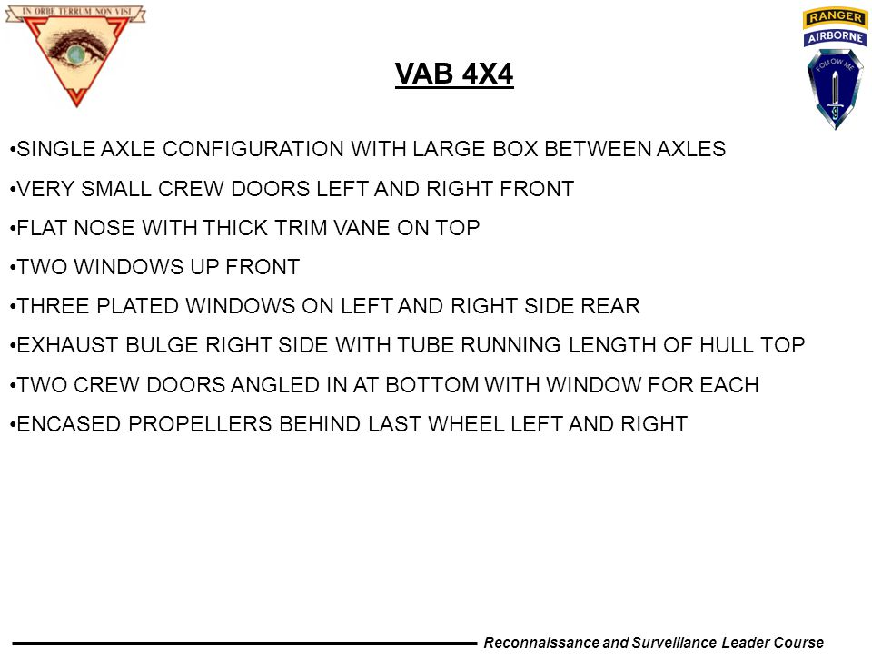 VAB 4X4 SINGLE AXLE CONFIGURATION WITH LARGE BOX BETWEEN AXLES