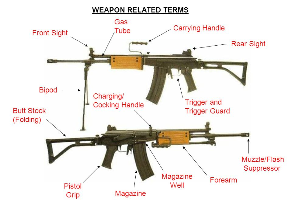 WEAPON RELATED TERMS Gas. Tube. Carrying Handle. Front Sight. Rear Sight. Bipod. Charging/ Cocking Handle.