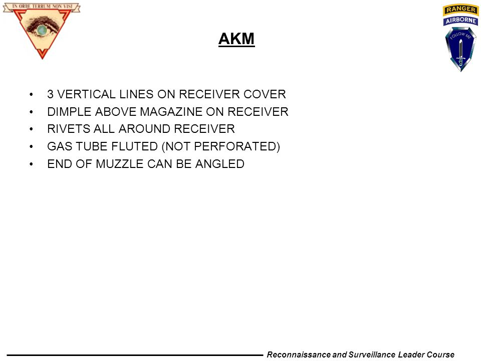AKM 3 VERTICAL LINES ON RECEIVER COVER