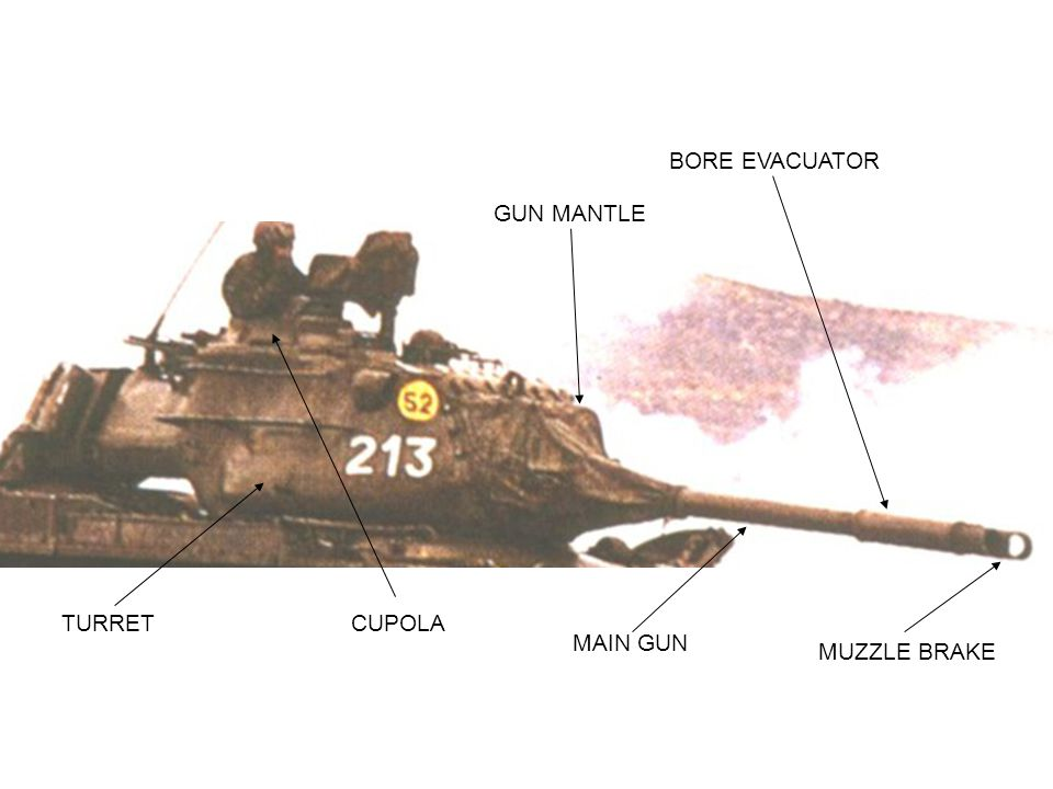 BORE EVACUATOR GUN MANTLE TURRET CUPOLA MAIN GUN MUZZLE BRAKE