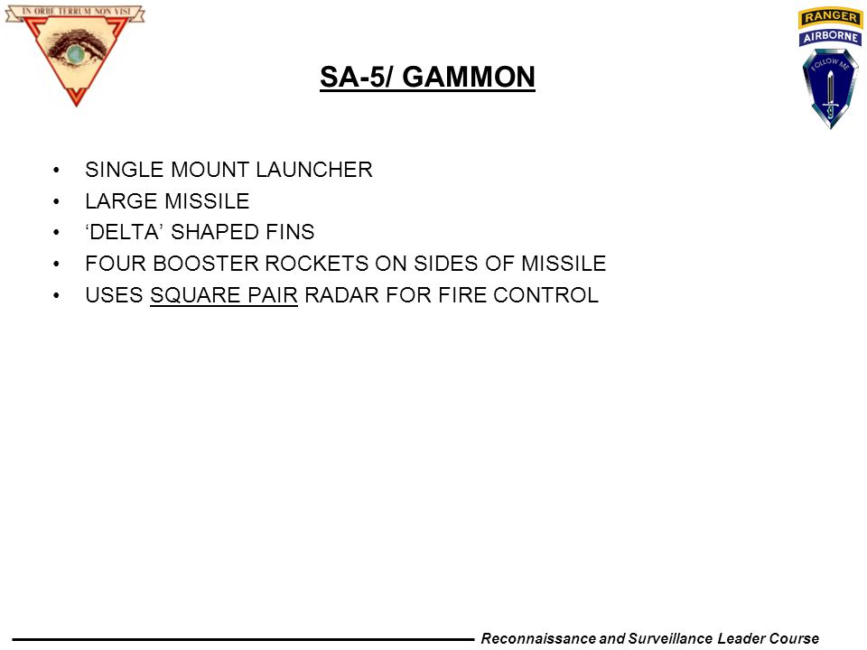 SA-5/ GAMMON SINGLE MOUNT LAUNCHER LARGE MISSILE 'DELTA' SHAPED FINS