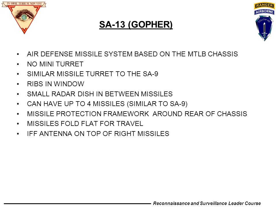 SA-13 (GOPHER) AIR DEFENSE MISSILE SYSTEM BASED ON THE MTLB CHASSIS