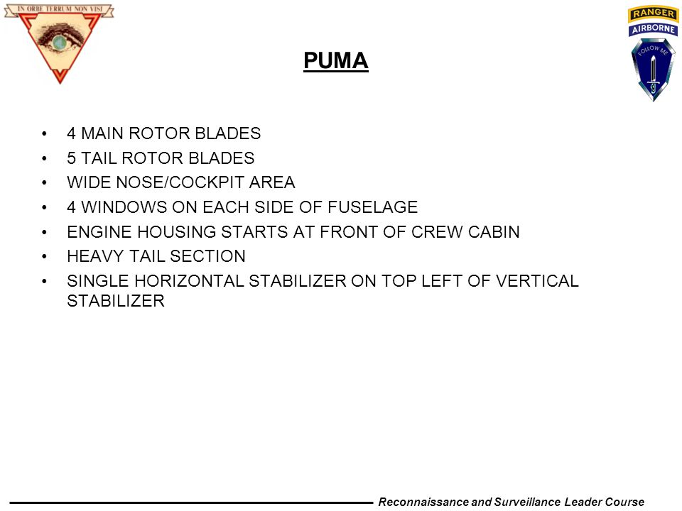 PUMA 4 MAIN ROTOR BLADES 5 TAIL ROTOR BLADES WIDE NOSE/COCKPIT AREA