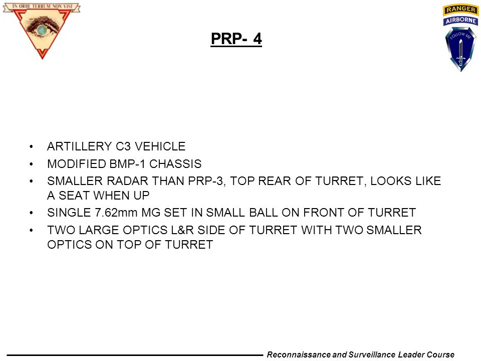 PRP- 4 ARTILLERY C3 VEHICLE MODIFIED BMP-1 CHASSIS