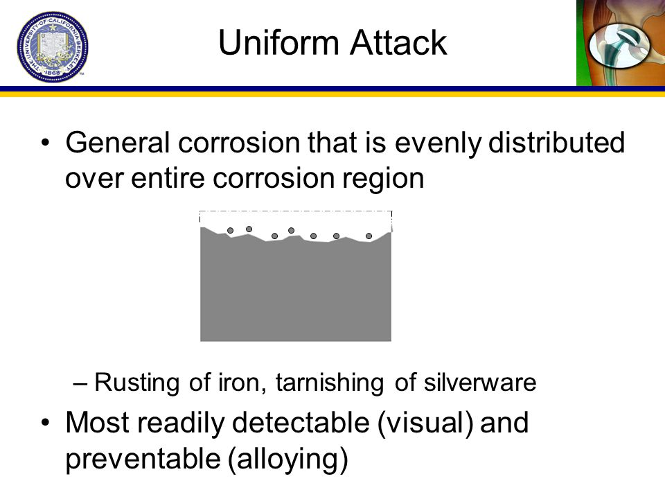 Uniform Attack General corrosion that is evenly distributed over entire corrosion region. Rusting of iron, tarnishing of silverware.