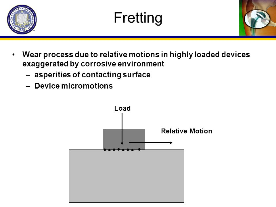 Fretting Wear process due to relative motions in highly loaded devices exaggerated by corrosive environment.