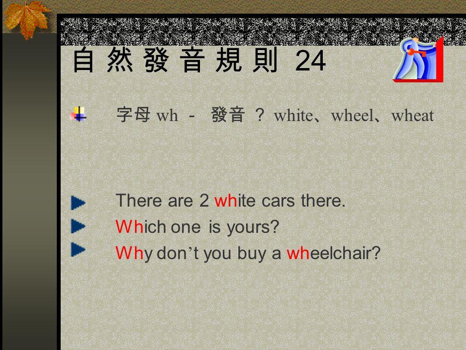 自 然 發 音 規 則 24 字母 wh - 發音 ? white、wheel、wheat