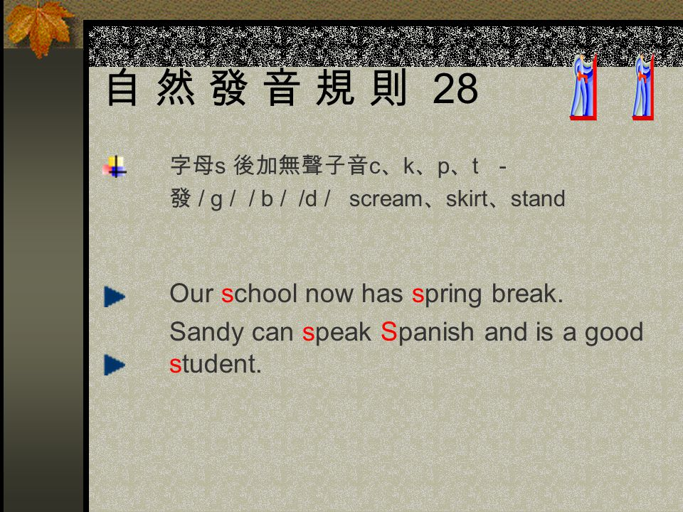 自 然 發 音 規 則 28 字母s 後加無聲子音c、k、p、t - 發 / g / / b / /d / scream、skirt、stand.