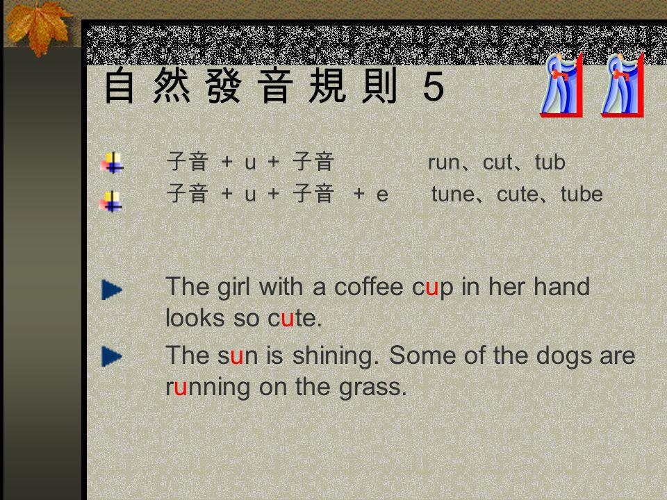 自 然 發 音 規 則 5 子音 + u + 子音 run、cut、tub. 子音 + u + 子音 + e tune、cute、tube.