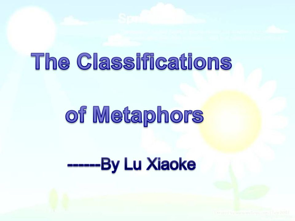 The Classifications of Metaphors