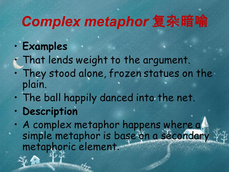 Complex metaphor 复杂暗喻 Examples That lends weight to the argument.