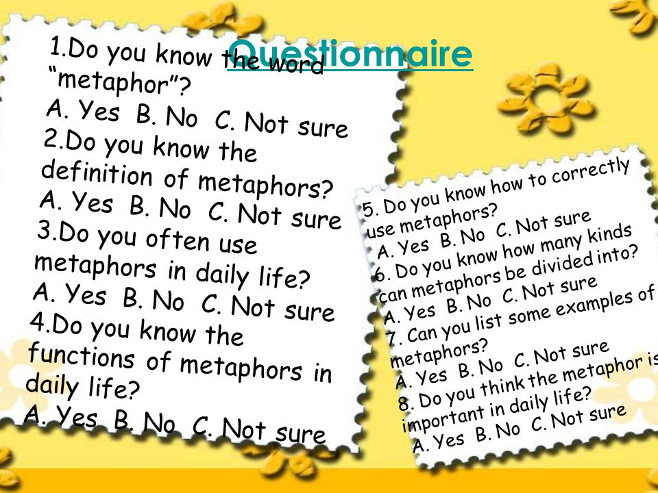 Questionnaire 1.Do you know the word metaphor