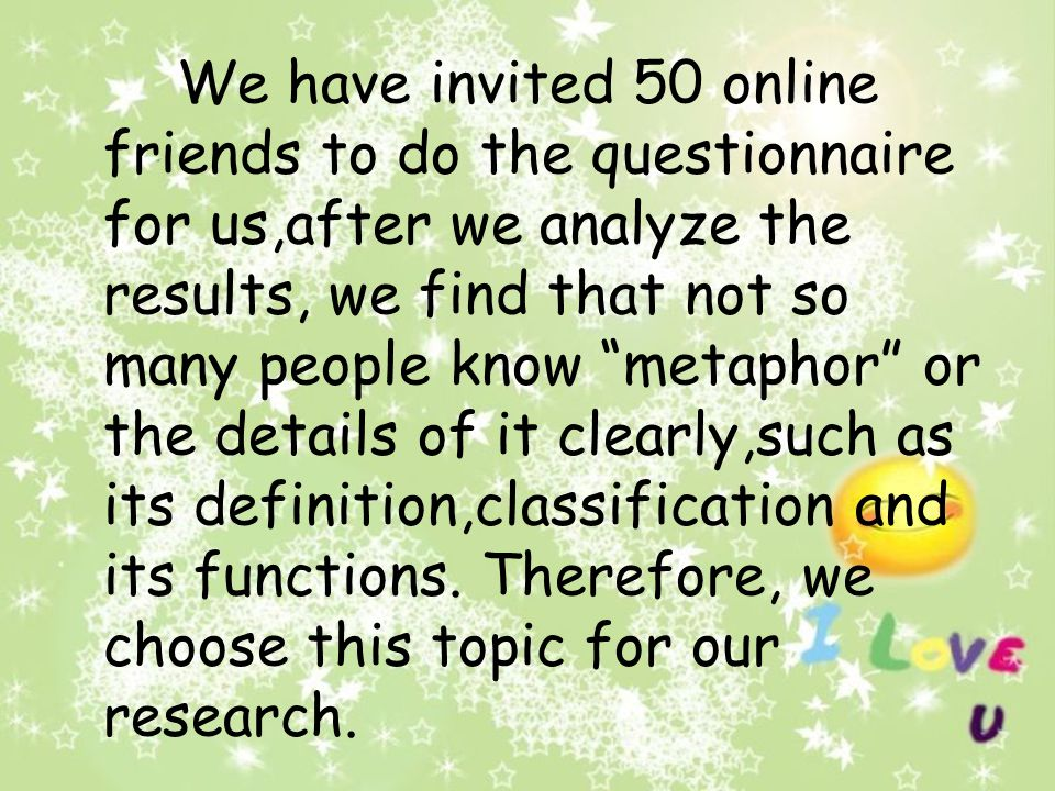 We have invited 50 online friends to do the questionnaire for us,after we analyze the results, we find that not so many people know metaphor or the details of it clearly,such as its definition,classification and its functions.