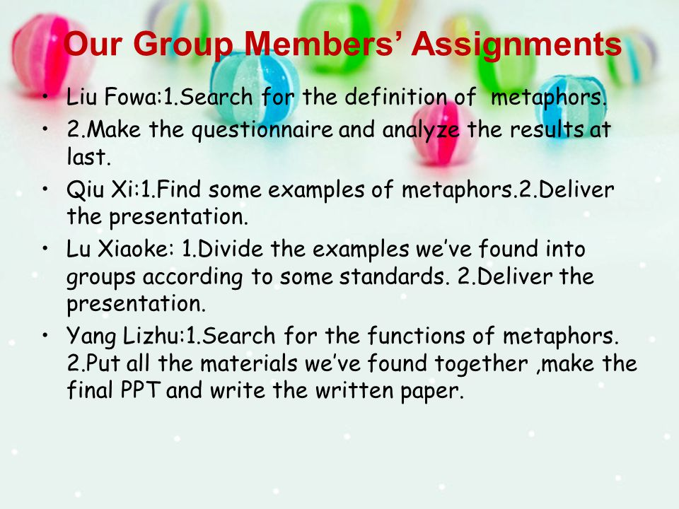 Our Group Members' Assignments