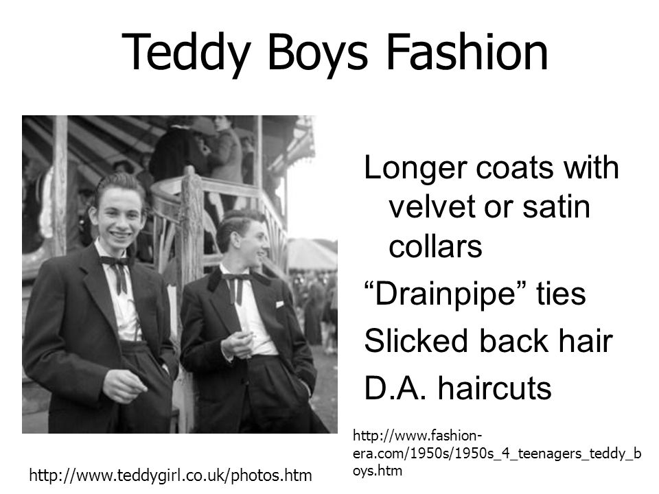 Teddy Boys Fashion Longer coats with velvet or satin collars